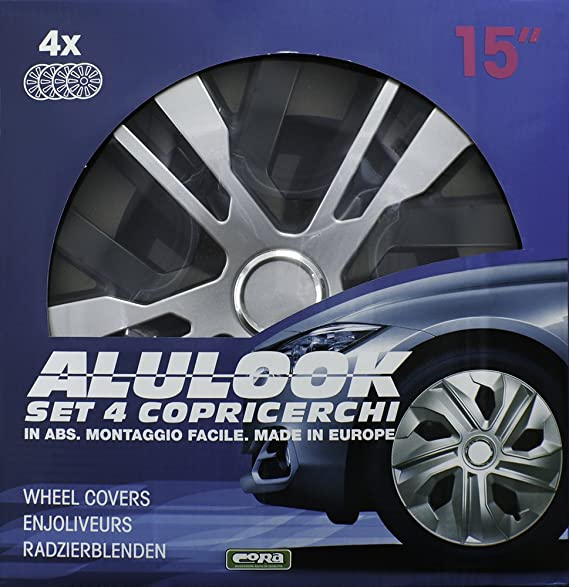 CORA 41444 - Set de 4 tapacubos Alulook Raven Mix, 14
