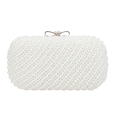 Amazon.com  Fawziya Bow Purses And Handbags Pearl Clutch Evening Bag ...