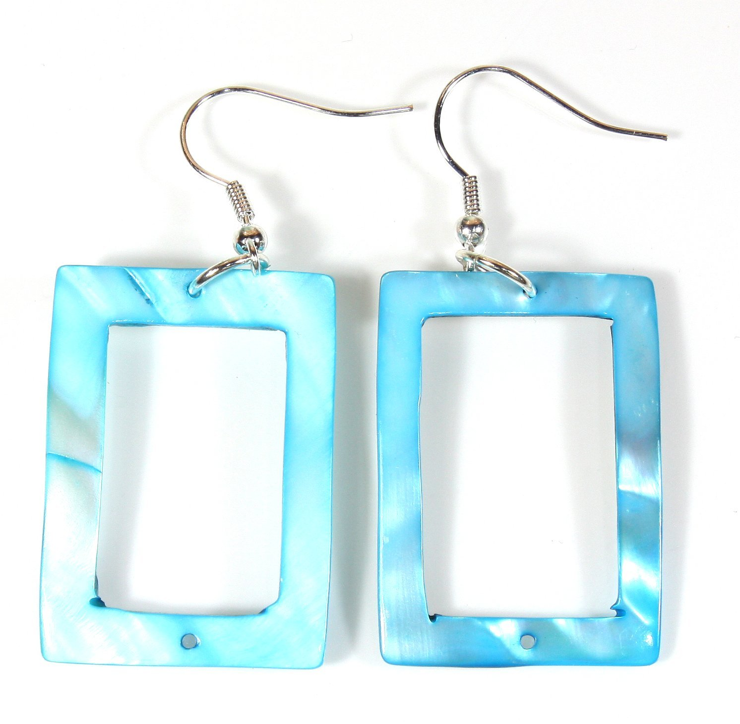 ''Summer Cool'' Blue Shell Earrings (Dyed), Dangle 2.0 Inches