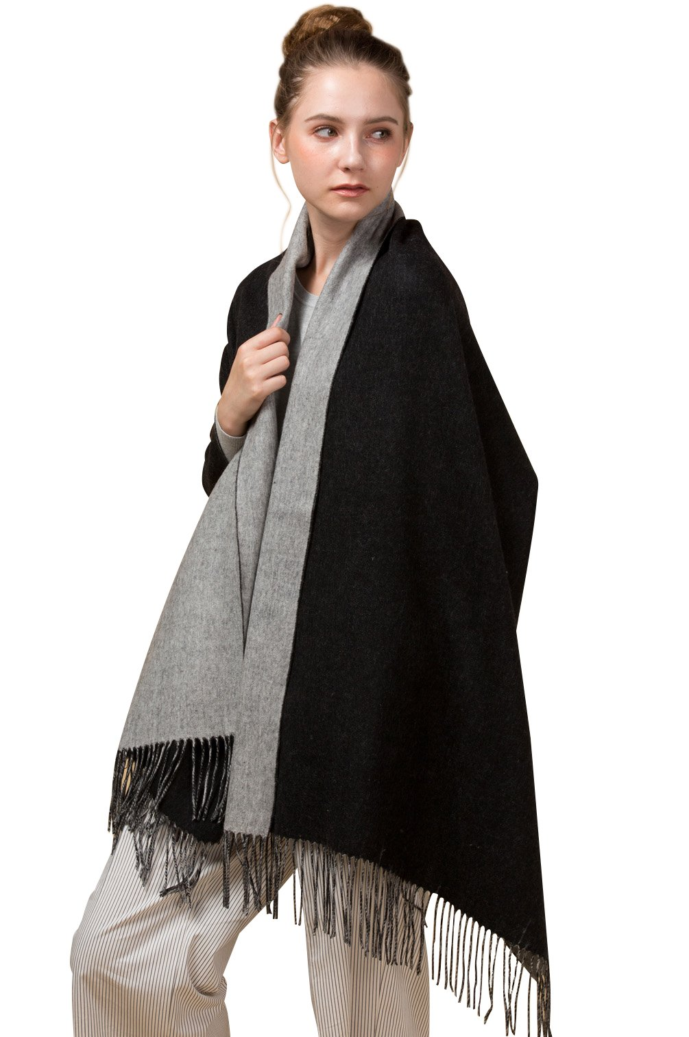 Novawo Extra Large Double Color Soft Cashmere and Wool Shawl Wrap for Women