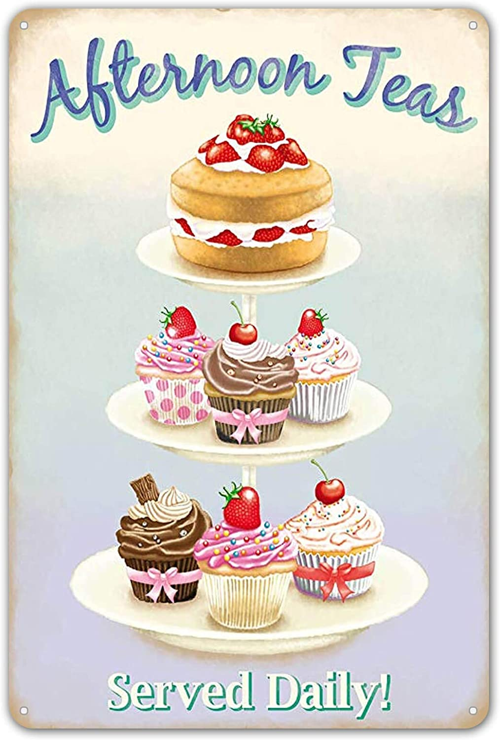 ZYPENG Afternoon Teas. Cake Stand. Food, Sponge Cake, Cupcakes, Retro Retro Vintage Tin Metal Sign Wall Decor Home Decor 8 x 12 inches