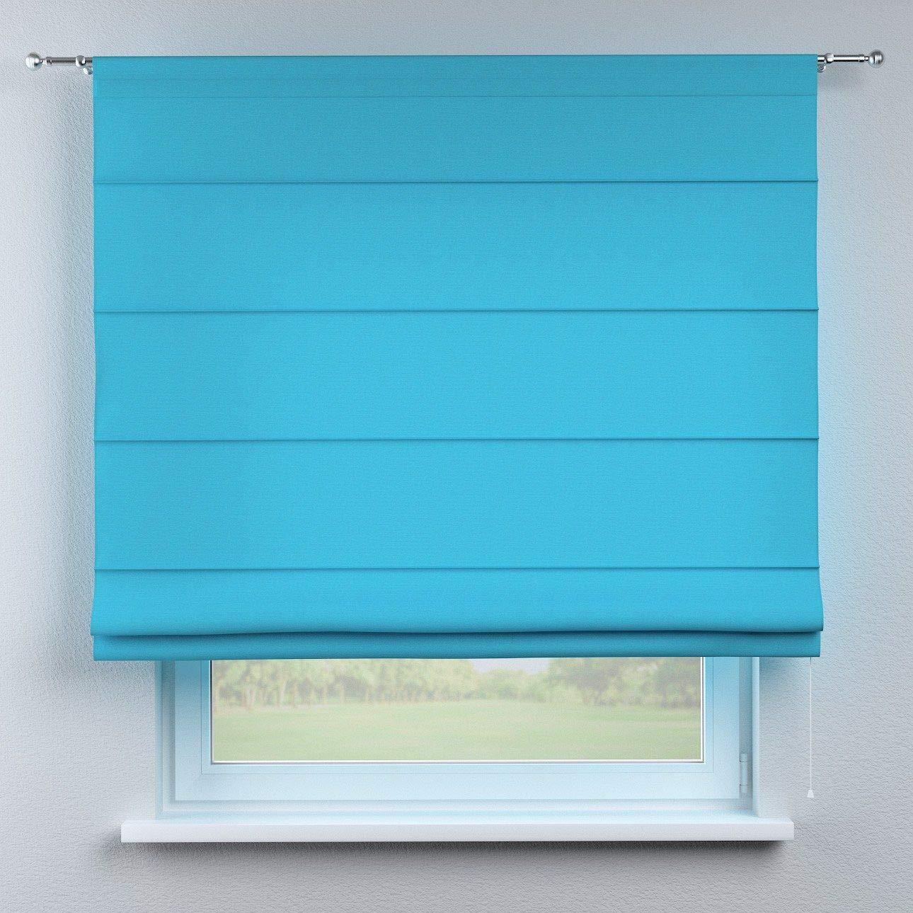Dekoria Raffrollo Torino ohne Bohren Blickdicht Faltvorhang Raffgardine Wohnzimmer Schlafzimmer Kinderzimmer 130 × 170 cm azurblau Raffrollos auf Maß maßanfertigung möglich