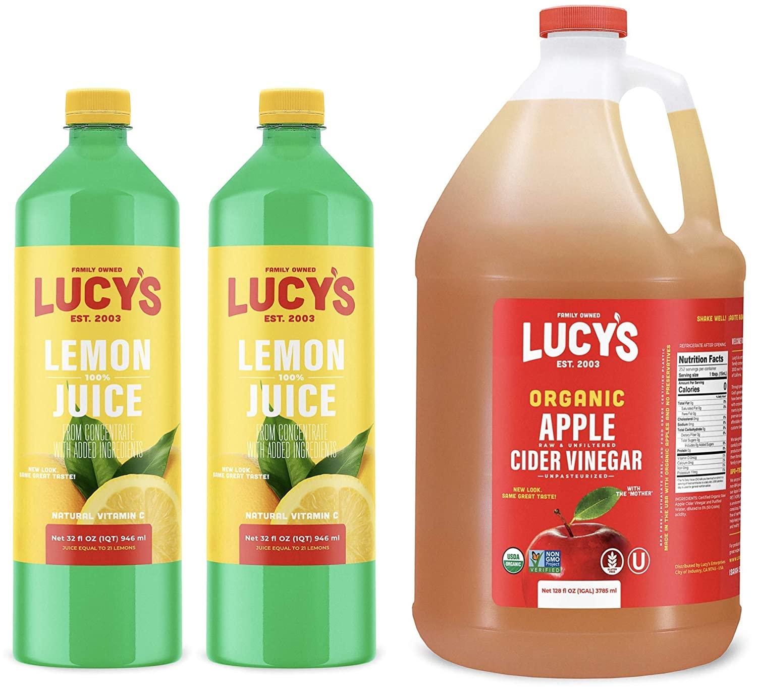 Lucy's Family Owned - Lemon Juice & Organic Apple Cider Vinegar Gallon (Bundle)