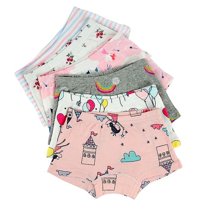 805877fd169 Amazon.com  Closecret Kids Series Baby Underwear Little Girls  Cotton  Boyshort Panties (Pack of 6)  Clothing