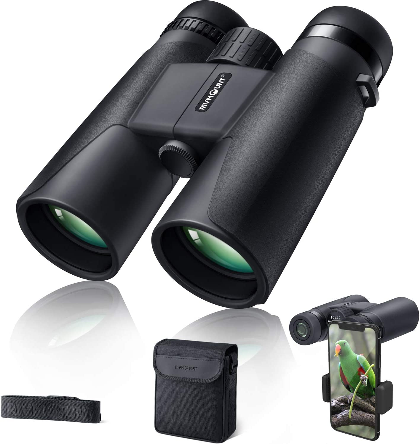 rivmount Binoculars for Adults 10×42 BAK-4 Roof Prism FMC Lens, HD Compact Durable Binoculars for Birdwatching Hunting Hiking and Traveling with Carrying Bag and Strap