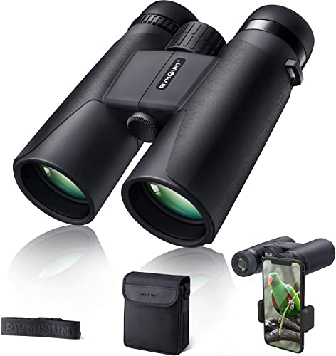 Binoculars for Adults 10×42 BAK-4 Roof Prism FMC Lens, HD Compact Durable Binoculars for Birdwatching Hunting Hiking and Traveling with Carrying Bag and Strap RIVMOUNT