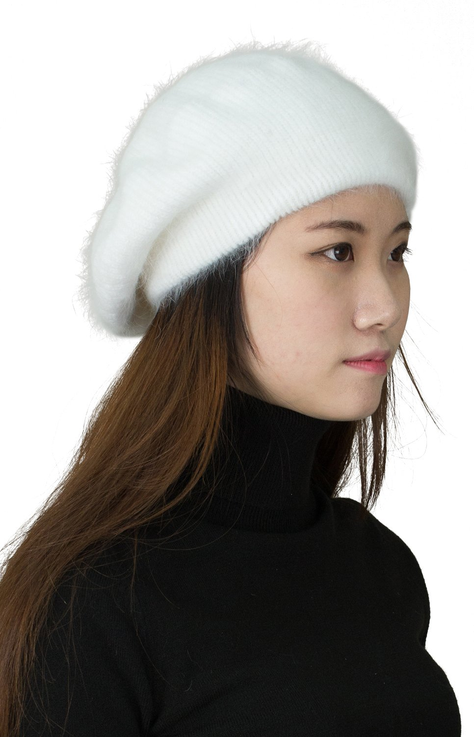 CapHouse Fine Ribbed Womens Angora Knit Winter Beanie Hat,Cream by CapHouse (Image #2)
