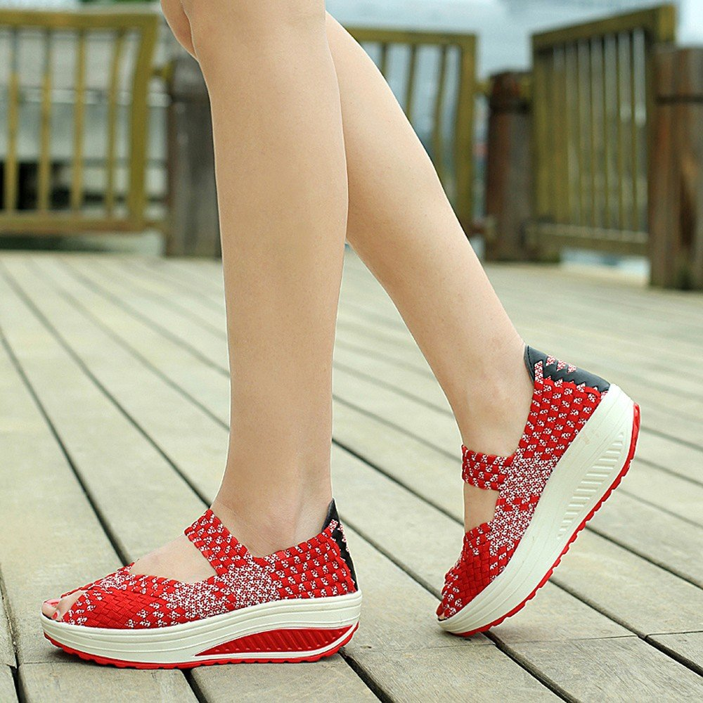 Clearance Sale Sneakers For Women,Farjing Women Casual Peep Toe Sports Shoes Woven Breathable Flat Sandals Sneakers(US:6,Red)
