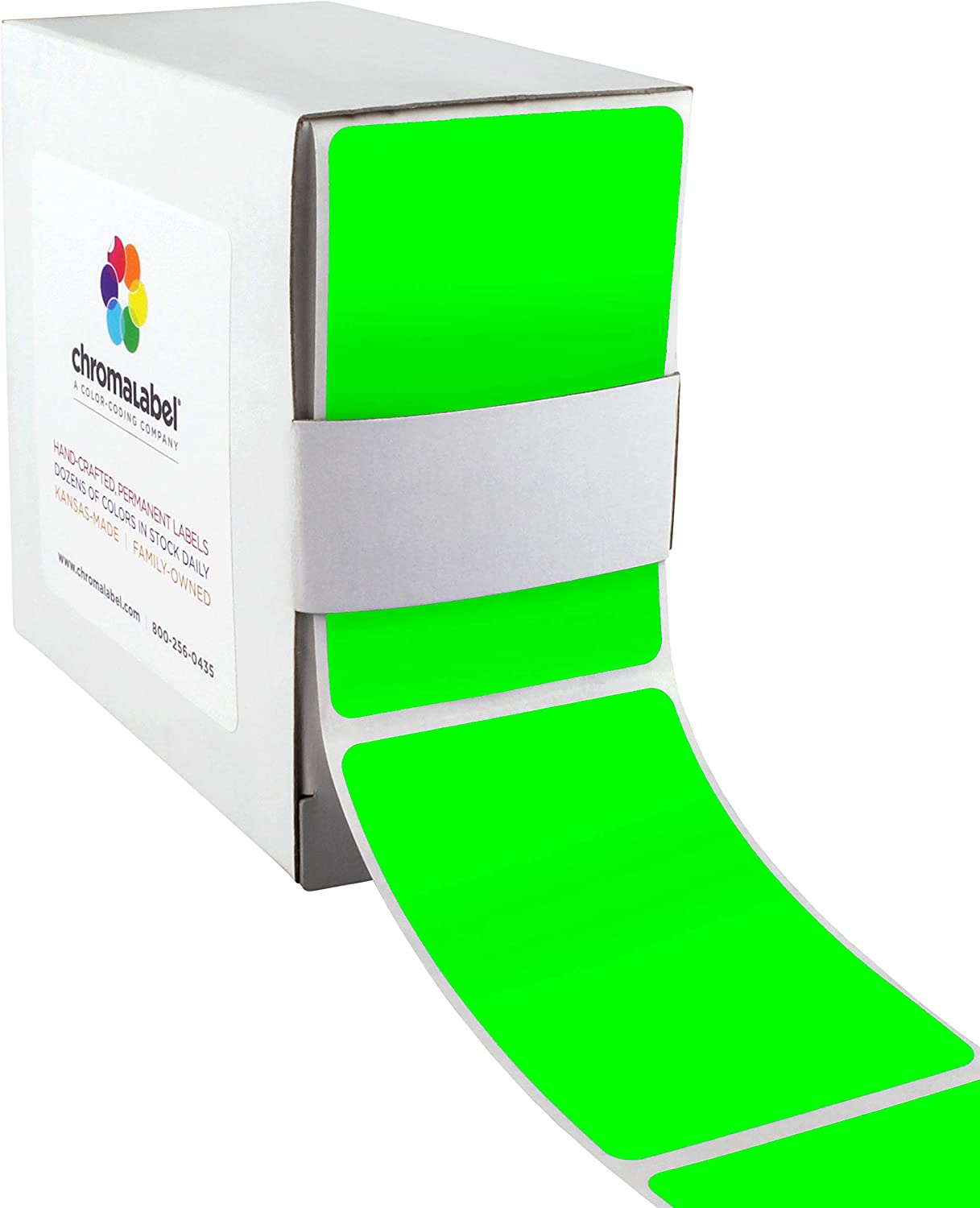 ChromaLabel 2 x 3 inch Permanent Color-Code Rectangle Labels, 100/Dispenser Box, Fluorescent Green