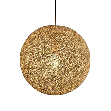 Pendant Lamps Light Fixture Replacement Shades ANGGO Wicker Rattan Lamps  Round Decoration LED Ball Lampshade Droplight