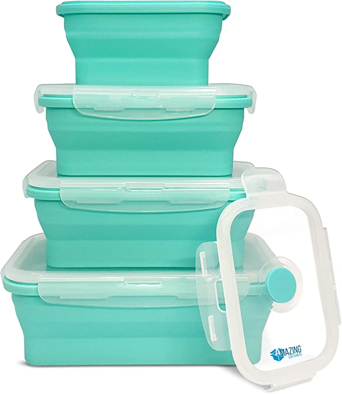 Amazing Containers Collapsible Silicone Food Containers - Set of 4