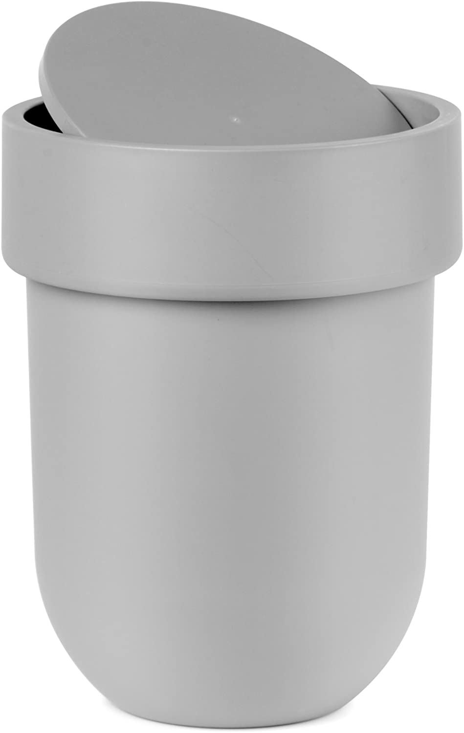 Umbra Touch Waste Can, Small Trash Can with Lid, Swing Lid Waste Basket, Garbage Can with Lid for Washroom/Bathroom, Soft Touch, Matte Gray Finish