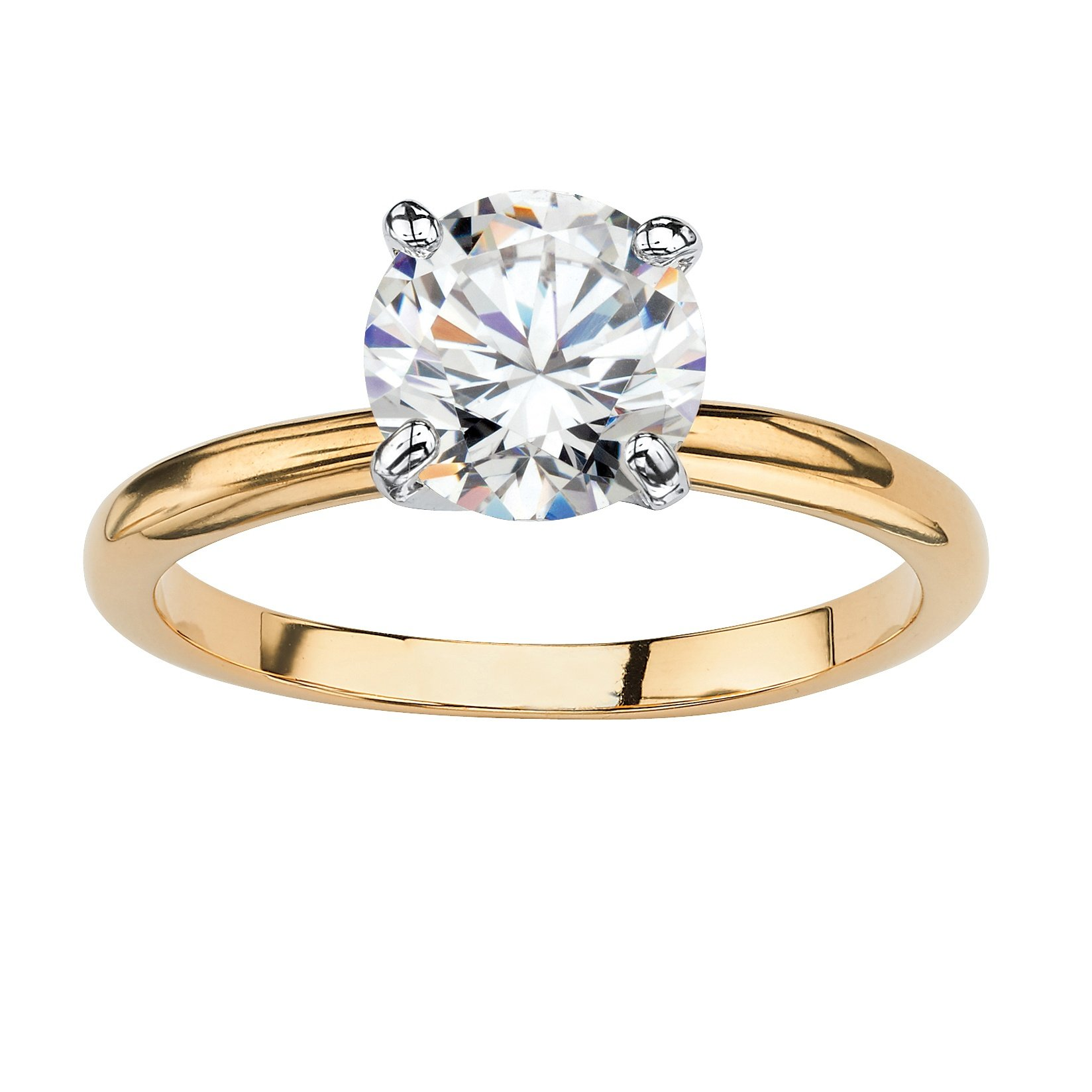 Palm Beach Jewelry 18K Yellow Gold Plated Round Cubic Zirconia Solitaire Engagement Ring Size 7 by Palm Beach Jewelry
