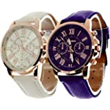 Geneva Platinum Analogue Multicolor Dial Women's Watch - 286