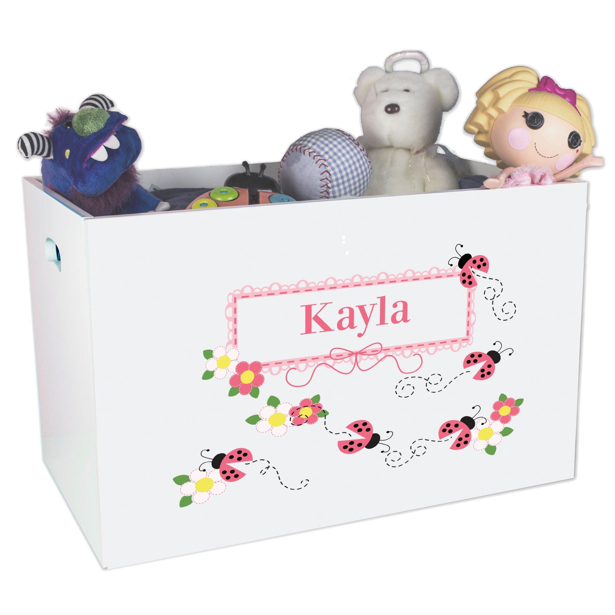 Personalized Ladybugs Childrens Nursery White Open Toy Box