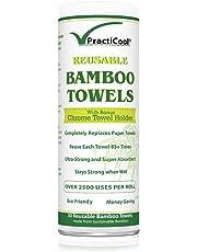 Practicool Essuie-tout lavable et réutilisable en bambou écologique 30feuilles blanches 28x 30cm Support chromé inclus