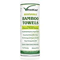 Practicool Bambus-Küchentücherrolle umweltfreundlich wiederverwendbar weiß, waschbar 30Blatt 28x 30Zentimeter mit Bonus chrom Handtuchhalter