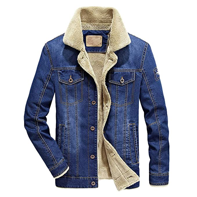 Clearance Sale! Caopixx Jackets for Mens Classic Western Style Lined Denim Jacket Trucker Coat Outwear