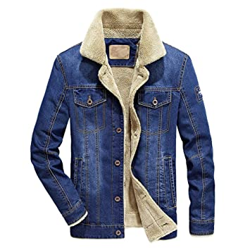 Amazon.com: Hot Daoroka Men Autumn Winter Denim Jacket Coat ...