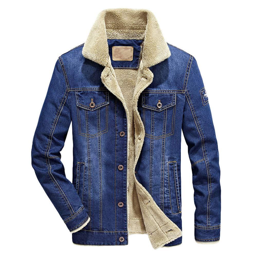 Seaintheson Men's Jacket Coat Tops,Autumn Winter Thermal Warm Denim Pullover Hoodie Casual Long Sleeve Plus Velvet Hooded Sweatshirt