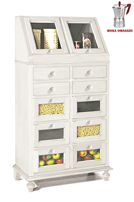 CLASSICO dispensa Shabby Chic bianca cucina laccato con cassetti e ...