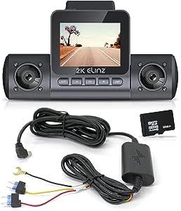 "Elinz 2K Dual Dash Cam 170° HD 2"" LCD Screen WiFi GPS Uber Taxi Car Video Camera Night Vision Novatek 96660 Sony Supercapacitor WDR 32GB"
