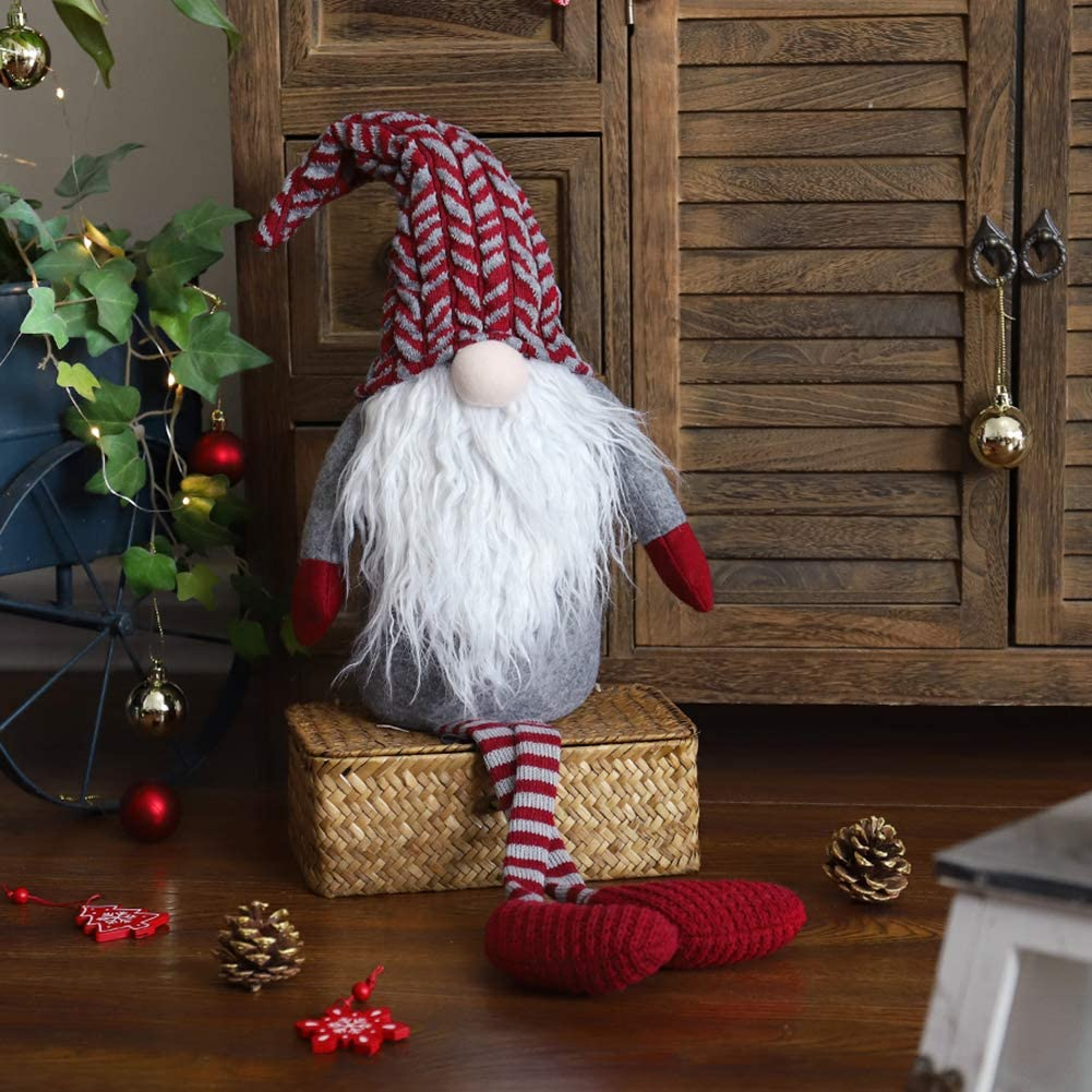 WORLDECO Christmas Gnome Decor Handmade Doll, Collectible Figurine Fat Swedish Tomte Red Hat Plush Beard Yule Decorations Holiday Presents 20 inch
