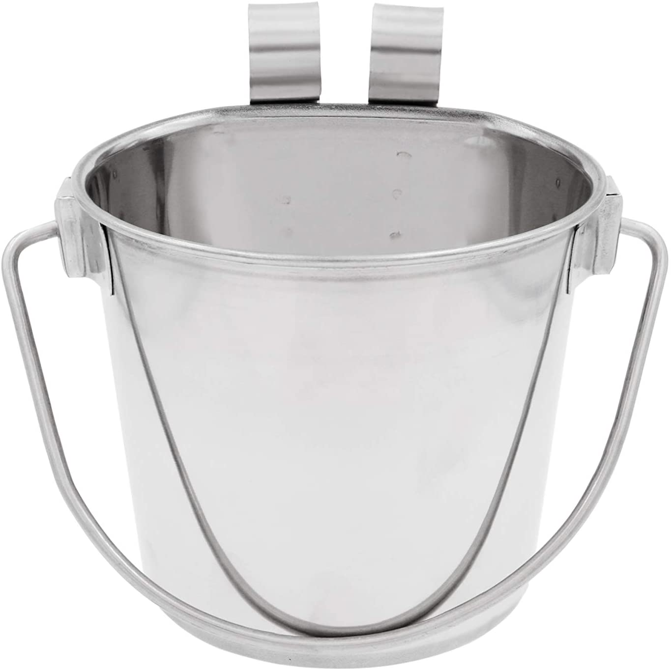 Fuzzy Puppy Flat Sided Pail with Dual Hooks, Snugly Fit On Dog, Cat and Critter Crates & Cages, Heavy Duty Stainless Steel, 2 Quart (FSP-2)