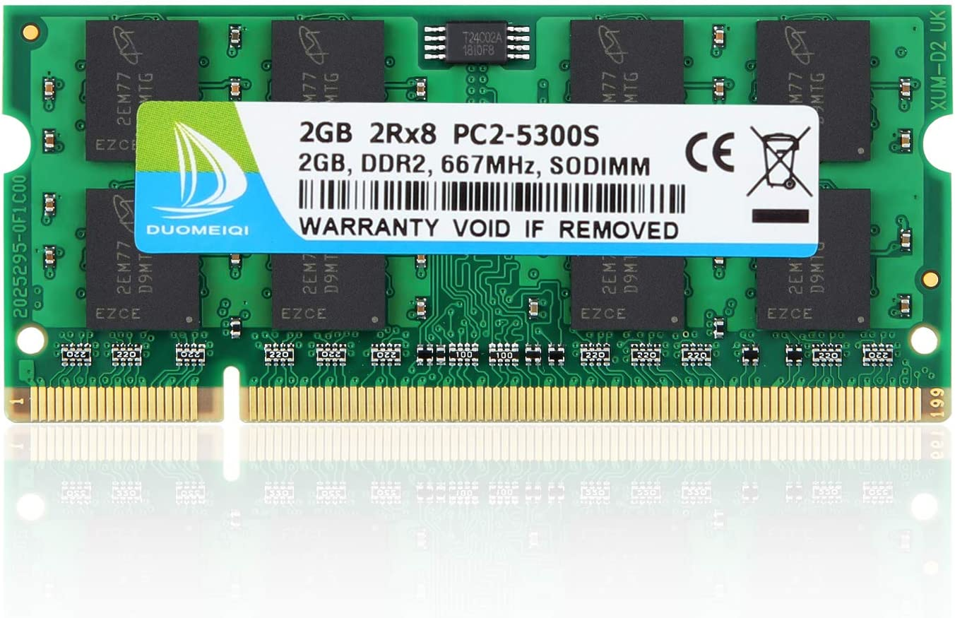 DUOMEIQI 2GB 2RX8 PC2-5300 PC2-5400 PC2-5300S DDR2 667MHz 200 Pin 1.8v SODIMM Non-ECC Unbuffered Notebook Memory Laptop RAM Module Compatible with Intel AMD System