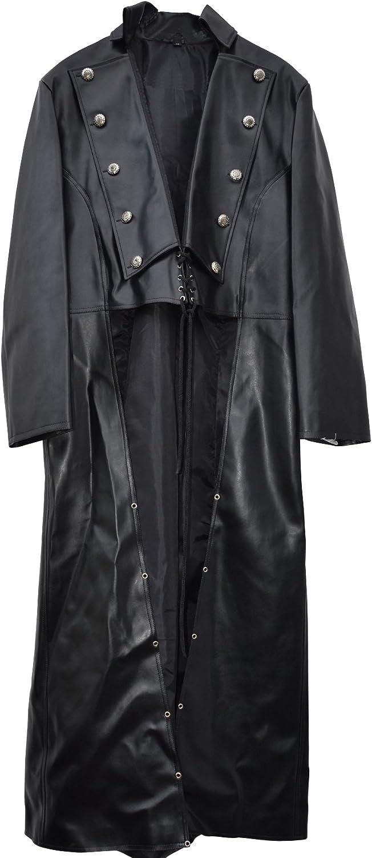 El celibato 31016514.008M Hombres gótica de Steampunk casaca de cuero de imitación o chaqueta - Medio corto trasero, M grande, negro