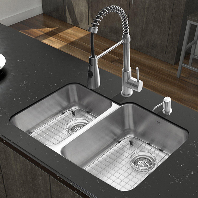 vigo brant single handle pull down spray kitchen faucet stainless