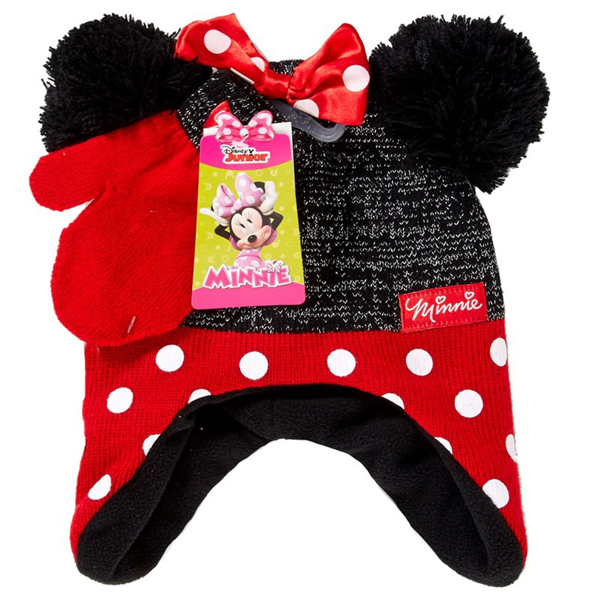 Minnie Mouse Little Girls Toddler Winter Hat & Mitten Set