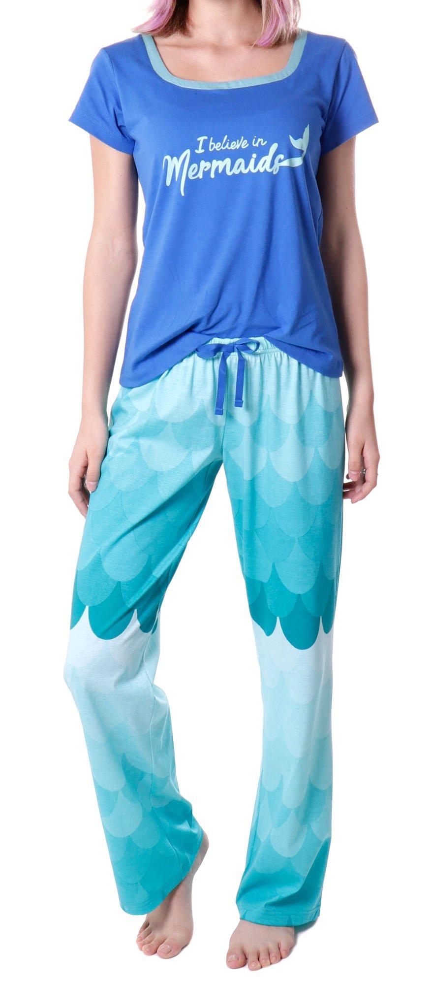 RHEA Women's Short Sleeve Shirt and Long Pajama Pants Sleepwear Set,Blue,M/Short
