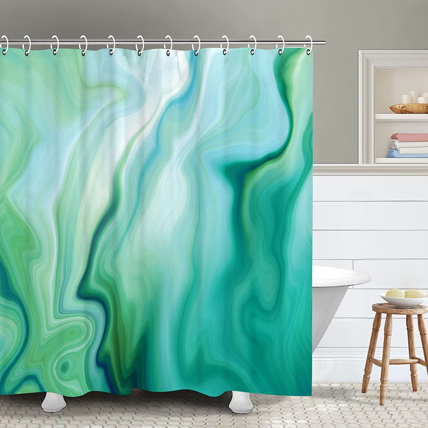 RosieLily Abstract Marble Shower Curtain, Green Ombre Shower Curtains Set with 12 Hooks, Decor Waterproof Bathroom Curtain, 72x72inches