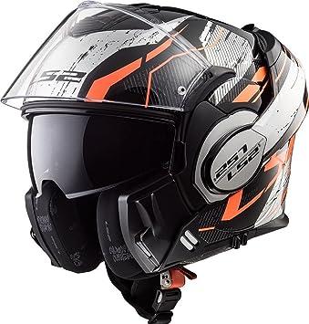 LS2 FF399 Cascos modulares de Moto Motocicleta Bicicleta Valiente Convertir Negro/Naranja / Cromo M