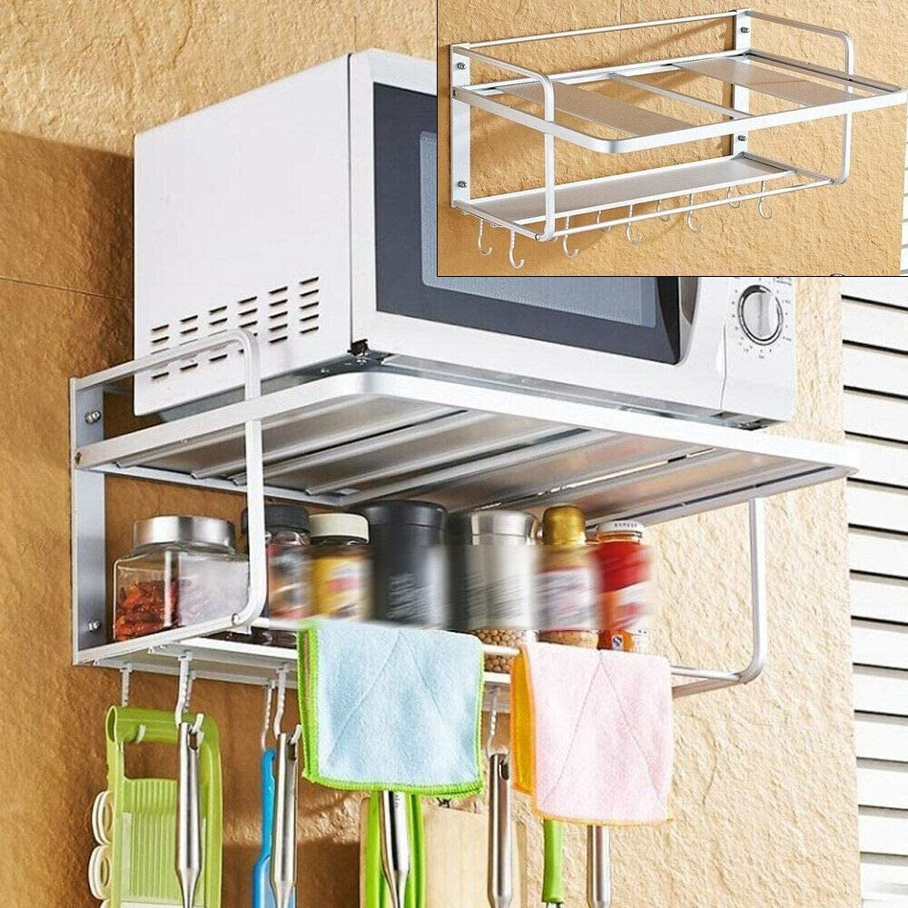 Gdrasuya10 Microwave Oven Rack Wall Mount Microwave Shelf Stand Kitchen Storage Organizer Holder Rack 2-tier with Hooks for Kitchen Utensils Accessories (With Towel Bar)
