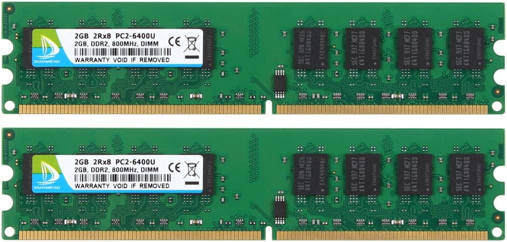 DUOMEIQI 4GB Kit (2 X 2GB) 2RX8 DDR2 800MHz UDIMM PC2-6300 PC2-6400 PC2-6400U CL6 1.8v (240 PIN) Non-ECC Unbuffered Desktop Memory RAM Module Compatible with Intel AMD System