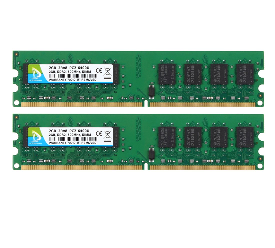 DUOMEIQI 4GB Kit (2 X 2GB) 2RX8 DDR2 800MHz UDIMM PC2-6300 PC2-6400 PC2-6400U CL6 1.8v (240 PIN) Non-ECC Unbuffered Desktop Memory RAM Module Compatible with Intel AMD System