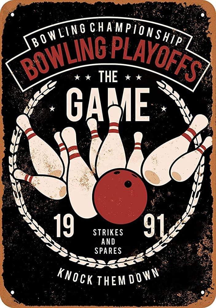 Inga Plaque en m/étal Vintage Motif Bowling Playoffs 8 x 12 Pouces