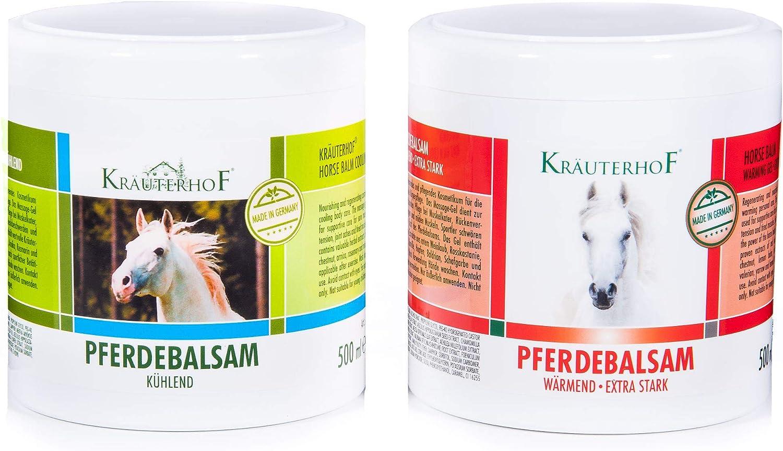 Kräuterhof Bálsamo de caballo (1 x refrescante y 1 x calentamiento extra fuerte) 2 x 500ml