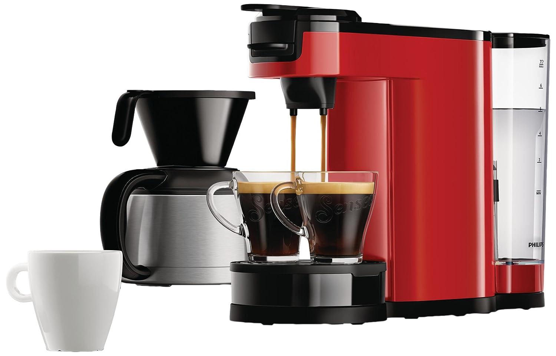 Senseo HD7892/81 - Cafetera (Independiente, Cafetera combinada, 1 L, Dosis de café, De café molido, 1450 W, Rojo): Amazon.es: Hogar