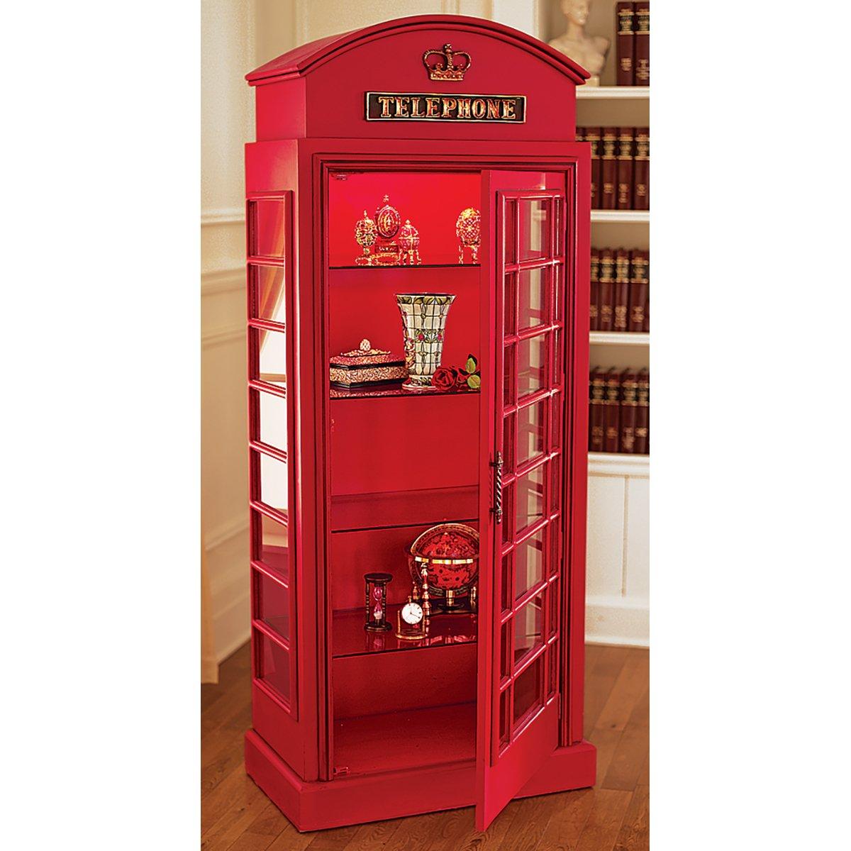 Design Toscano NE36832 British Telephone Booth Display Cabinet ...