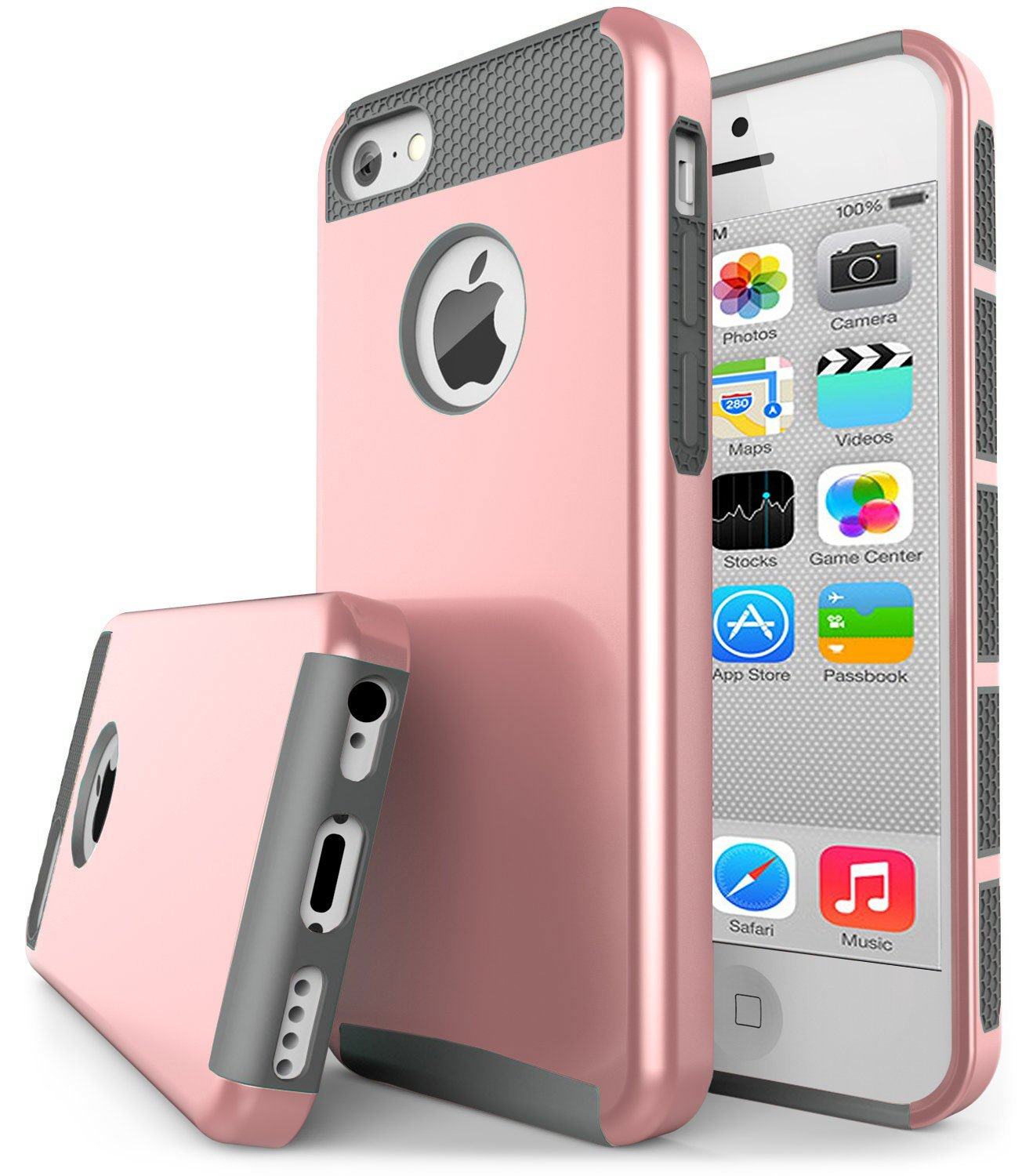 iPhone 5C , Jwest 5c 2 in 1 [Silicone & PC] Hybrid Dual-Layer Heavy Duty Rugged Slim Bumper Shockproof Protective Rear Case Cover for Apple iPhone 5C Rose Gold 195