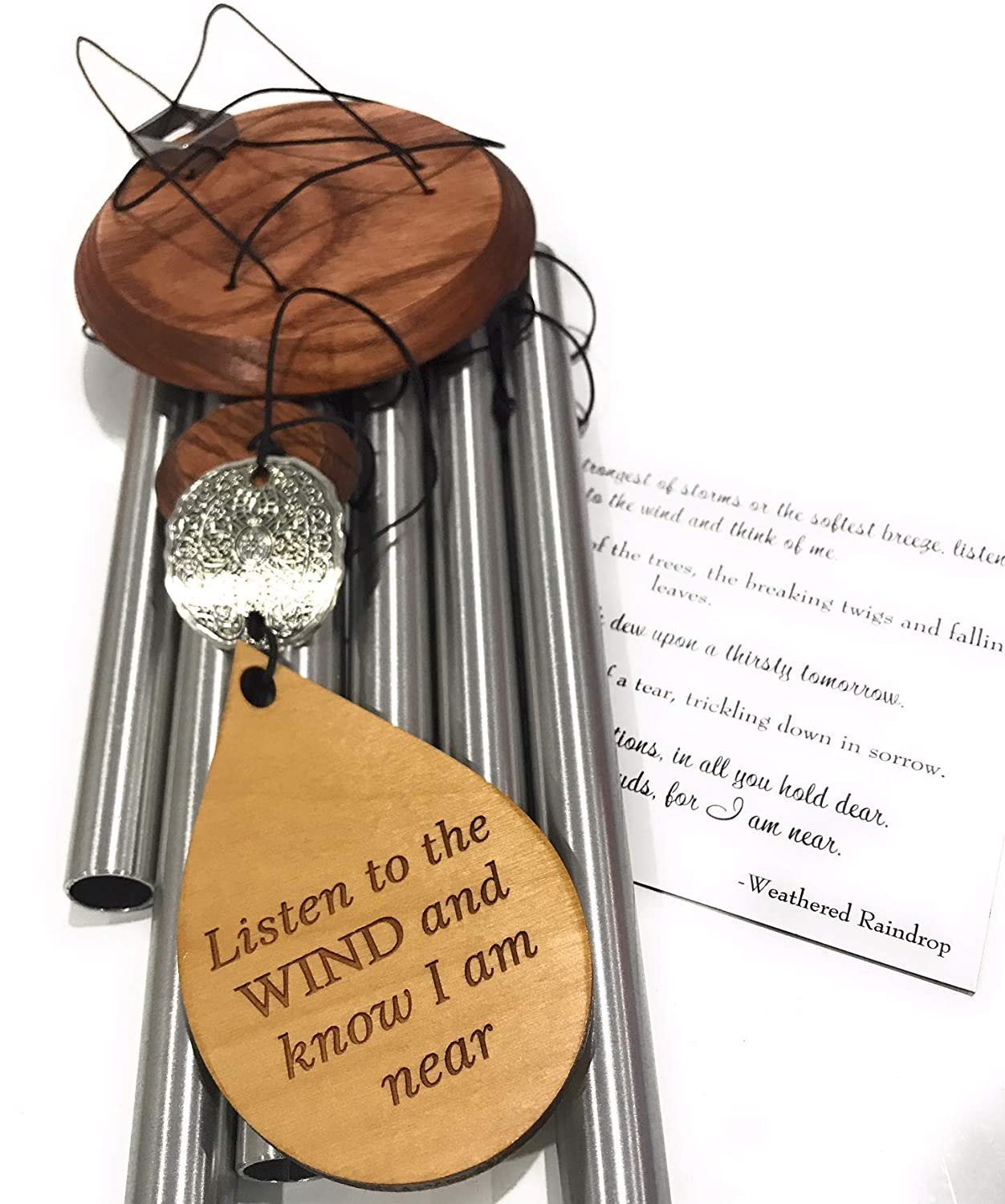Memorial Sympathy 17 inch Gift Wind Chime Ships TODAY In Sympathy After Loss in Memory of Loved One Silver Listen to the Wind Memorial Garden Remembering a loved one