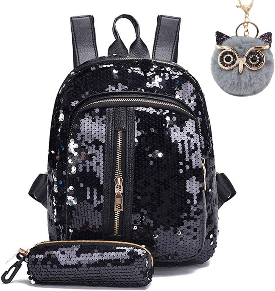 Green Sequin Backpack for Girls Mini Sparkly Flip Kids School bag and Owl Pendant