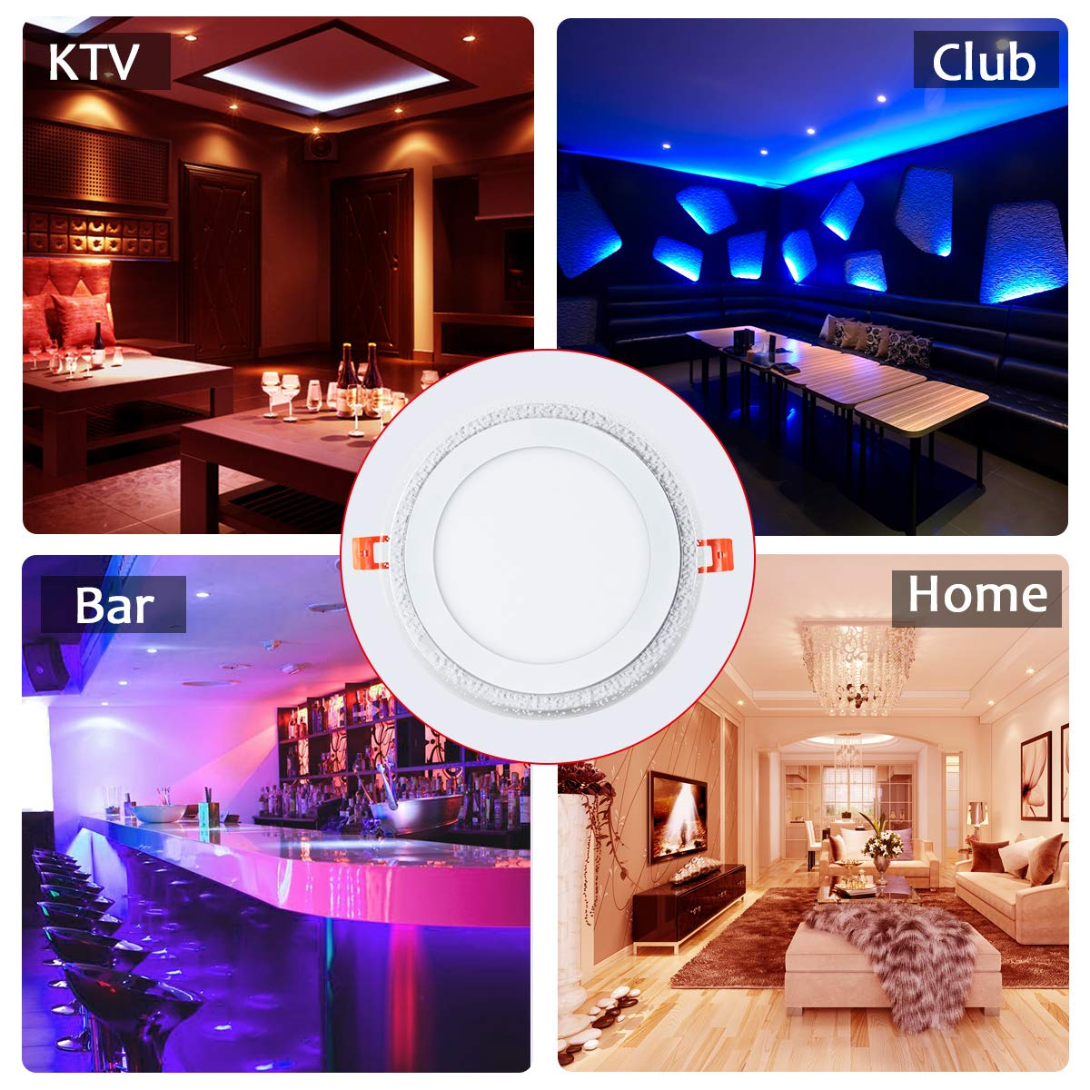 8 Inch Remote Control RGB LED Color Changing Recessed Ceiling Round Panel Lights, Cool White 6500k+ RGB Ultra Thin with Driver, AC100-240V 18+6W, Office, Home, Commercial Lighting Pack of 5 by zhaosheng (Image #2)