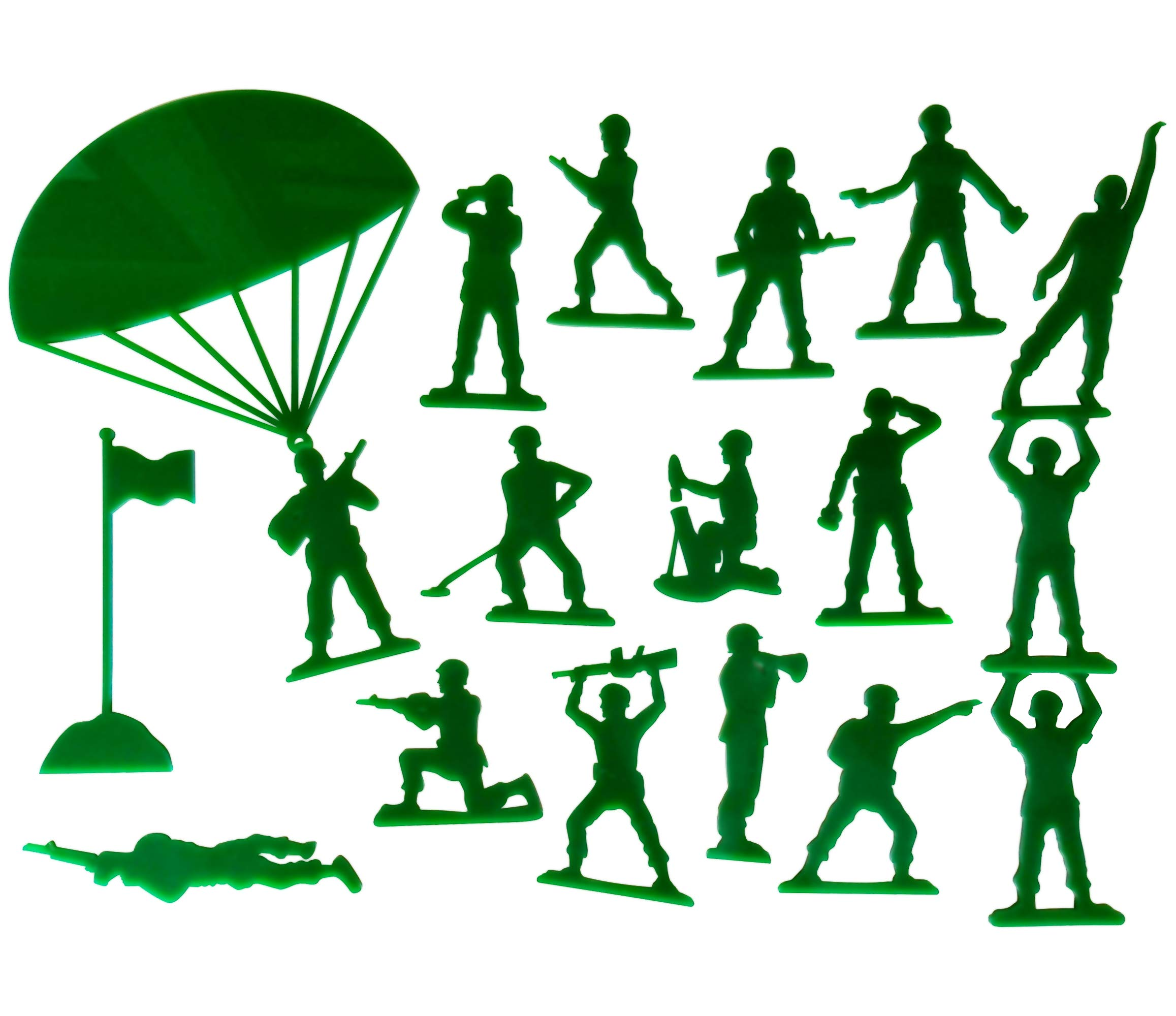Set of 18 Army Men Acrylic Green Wall Decorations for a Kid's Toy Story Room or Andy's Room Nursery by Living Lullaby Designs