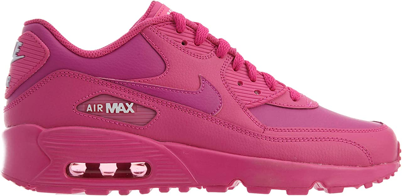 Nike 833376 603: Big Kids Air Max 90 Laser FuchsiaWhite Leather Sneakers