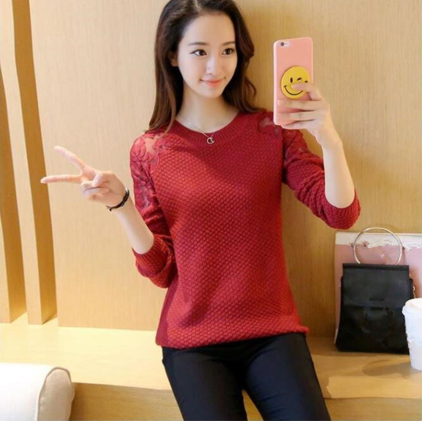 Neploe Lace Sleeve Sweater Woman Pullover Autumn Winter O-neck Knitted Tops Fashion Sweet Slim Fit Knitwear