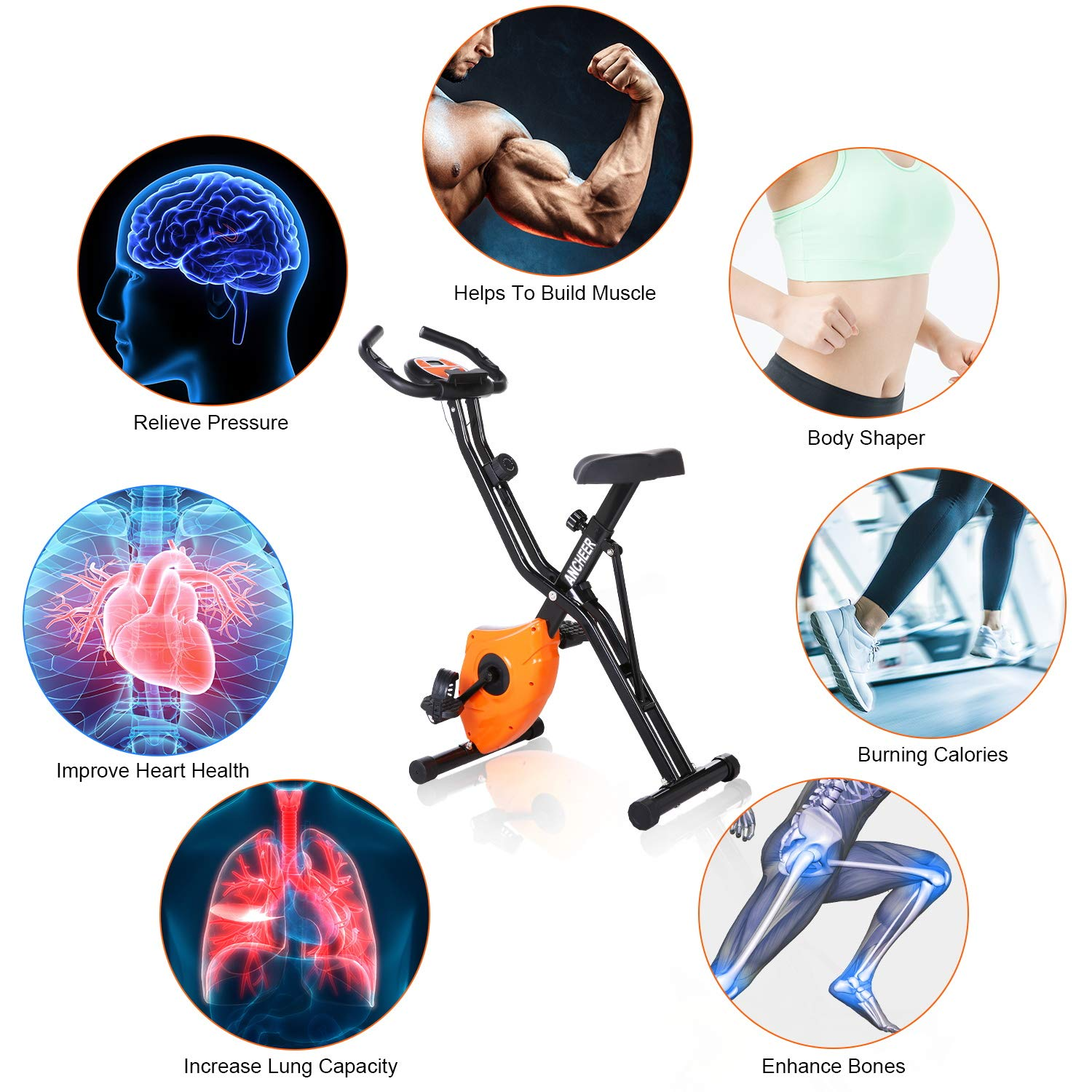 ANCHEER Folding Magnetic Exercise Bike, 10-Level Adjustable Stationary Bike - Tablet Stand & Large and Comfortable Seat by ANCHEER (Image #5)